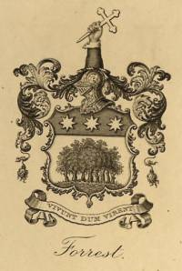 Bookplate showing the arms of Sir John Forrest