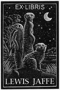 Meerkat bookplate designed for Lewis Jaffe by Andy English