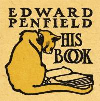 Edward Penfield's bookplate shows a cat looking at a book